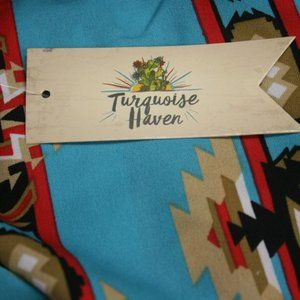 Turquoise Haven Tops - Turquoise Aztec Print Blouse Chiffon Open Back NWT